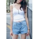 Plain High Waist Zip Fly Ripped Hem Denim Shorts