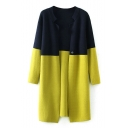 Round Neck Color Block Long Sleeve Open Front Cardigan