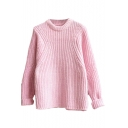 Plain Long Sleeve Mohair Round Neck Sweater