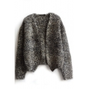 Heathered V-Neck Open Front Long Sleeve Cropped Woolen Cardigan