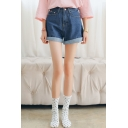 Plain Pockets Cuffed Denim Shorts