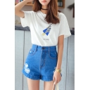 Plain High Waist Zip Fly Wide Leg Denim Shorts