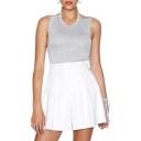 Plain White Pleated PU Flippy Shorts