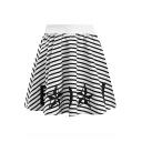 Stripe Star Letter Print Elasticated High Waist A-Line Mini Skirt