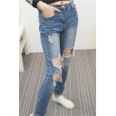 Blue Ripped Boyfriend Loose Light Wash Jeans