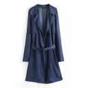 Blue Notched Lapel Belted Tunic Denim Coat