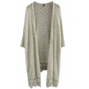 Gray Cutout Hem 3/4 Sleeve Loose Tunic Cardigan