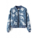Printed Denim Baseball Jacket