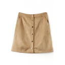 Plain Button A-Line Mini Skirt