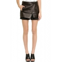 PU Plain Zip Back Skort Shorts