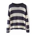 Long Sleeve Stripe Boat Neck Sweatshirt