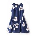 Round Neck Sleeveless Floral Print Ruffle Hem Dress