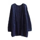 Plain V-Neck Double Pocket Open Front Cable Knit Long Sleeve Cardigan