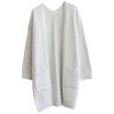 Plain V-Neck Double Pocket Open Front Long Sleeve Tunic Cardigan
