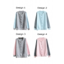 Color Block Round Collar Single-Breasted Long Sleeve Cardigan