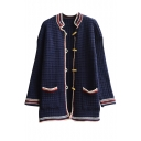 Colorblock Stand Collar Claw Button Double Pocket Long Sleeve Cardigan