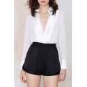 Plain Black High Waist Zip Fly Flippy Shorts