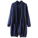 Plain Lapel Long Sleeve Laid Back Cardigan