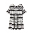Stripe Print Round Neck Ruffle Hem Zipper Back Dress