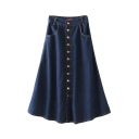 Plain Button Double Pocket High Waist Denim Maxi Skirt
