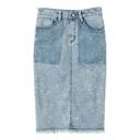 Plain High Waist Tassel Trim Denim Pencil Midi Skirt