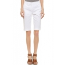 Plain White Mid Waist Half Pants