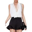 Plain High Waist Zip Back Ruffled Hem Shorts