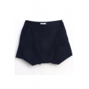 Plain Mid Waist Zip Side Skort Shorts