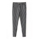 High Waist Striped Elastic Skinny Crop Pants