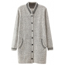 Stripe Print Stand Up Collar Single Breast Cardigan