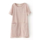 Short Sleeve Round Neck Stripe Print Three Pocket Shift Dress