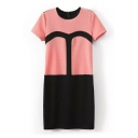 Colorblock Crew Neck Short Sleeve Shift Dress
