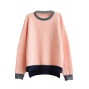 Colorblock Hem Round Collar High Low Long Sleeve Sweater