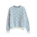 Long Sleeve Ruffle Hem Mixed Color Sweater