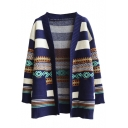 Wide Stripe Geometric Jacquard Open Front Long Sleeve Cardigan