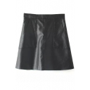 Plain High Waist Zip Back Double Pocket PU A-Line Mini Skirt