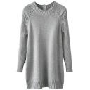 Gray Long Sleeve Zipper Back Tunic Sweater