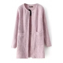 Round Neck Double Pocket Long Sleeve Tunic Cardigan