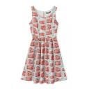 Sleeveless Round Neck Cartoon Bus Print Dress