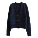 Plain V-Neck Single-Breasted Double Pocket Long Sleeve Knit Cardigan