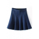 Plain High Waist Pleated Flair Denim Mini Skirt