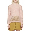 Pink Round Neck Long Sleeve Cutout Loose Sweater