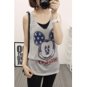 Cartoon Pattern V-Neck Sleeveless Tunic Vest