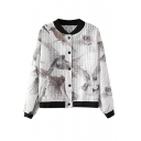 Birds Print Stand Collar Long Sleeve Bomber Jacket