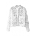 Plain Stand Collar Single-Breasted Lace Coat