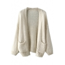 Plain Open Front Double Pocket Batwing Cardigan