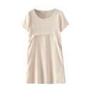 Short Sleeve Round Neck Plain Shift Dress