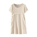 Short Sleeve Round Neck Plain Shift Dress