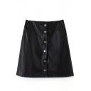 Plain Button High Waist PU A-Line Mini Skirt