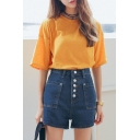Plain High Waist Button Fly Denim Shorts